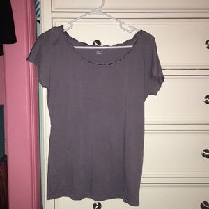purple short sleeve blouse